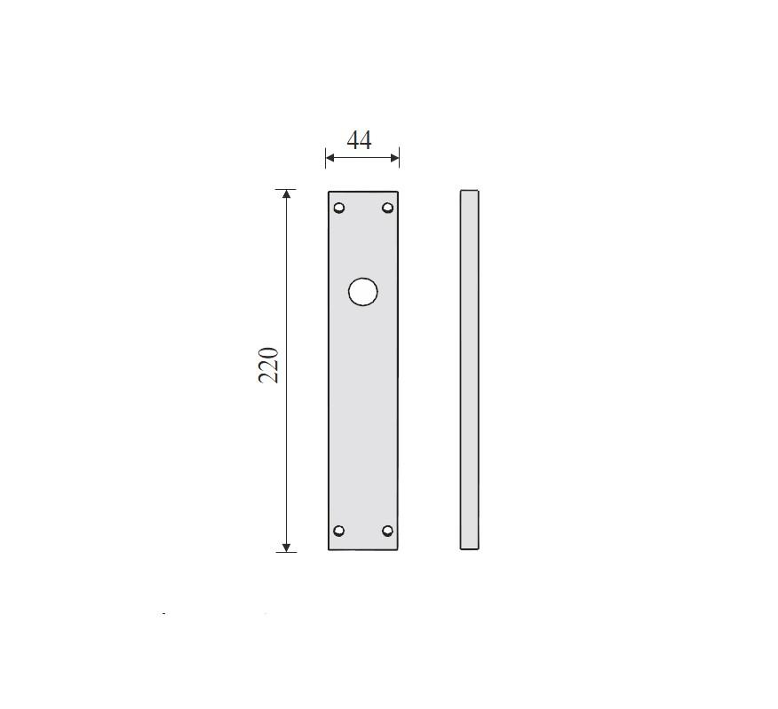 PLACA RECTANGULAR INOX PARA MANILLAS 220X44mm